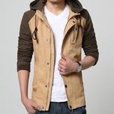 男装新款立领秋季韩版修身连帽休闲工装外衣夹克衫外穿秋装外套