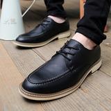 春夏季透气皮鞋男士商务休闲皮鞋尖头小皮鞋复古英伦风增高男鞋子