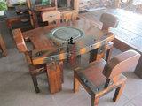 老船木家具 半圆形复古简约茶桌 功夫茶桌椅组合 原生态弧形茶桌