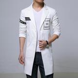 2016春季新品男式长款印花潮流风衣修身型西装领外套加肥加大码男