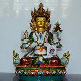尼泊尔纯手工制作紫铜鎏金矿物质彩绘四臂观音单座佛像 1尺 正品