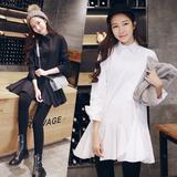 白色衬衫女中长款长袖宽松防晒衬衣打底衫秋季外套女韩版学生款潮