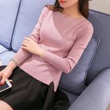 2016春季女装新款打底衫长袖短款一字领套头毛衣女士学生针织衫潮