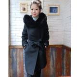 DIDADA原创设计黑色全羊毛加厚大衣女狐狸毛领双面羊绒呢子外套冬