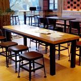 美式乡村实木餐桌铁艺长方形会议办公桌LOFT酒店餐厅饭馆桌椅组合
