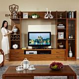 百方家具 实木电视柜组合电视墙现代中式客厅组合背景墙厅柜酒柜