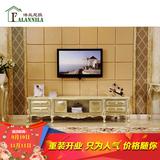欧式茶几电视柜组合 实木雕花大理石电视柜香槟色地柜大户型家具