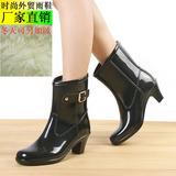 包邮特价风靡韩国高跟雨鞋女水靴秋冬可加绒水鞋雨靴中筒胶鞋鞋套