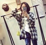 春秋女装韩版学院风牛仔棉衬衫BF大码宽松格子衬衣中长款长袖外套