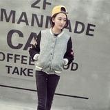 2014韩国东大门刺绣毛绒棒球外套羊羔拼接长袖加厚棉衣棒球服外套