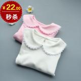 女童T恤长袖纯棉春秋上衣婴儿打底衫翻领圆领女宝宝新款0-1-2-3岁