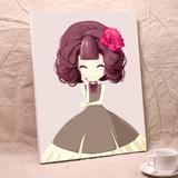 自油自画 diy数字油画 客厅卧室人物清新手绘卡通装饰画 牡丹姑娘