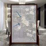 实木环保客厅玄关隔断中式风水半透明纱屏风YD-061