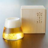 猪娃礼物富士山下高硼硅耐热玻璃杯啤酒杯红酒杯创意杯子茶杯礼盒