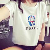 夏装新款韩国大码女装宽松卡通印花哆啦a梦短袖T恤女显瘦上衣学生