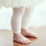 婴儿打底裤春夏款纯棉网眼透气婴儿女小童公主风格网眼宝宝九分裤