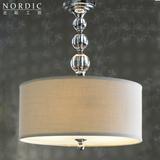 包邮 现代简约水晶灯北欧宜家卧室客厅书房创意圆形布艺灯罩吊灯
