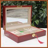 木质带锁带镜首饰盒 欧式珠宝盒 收纳盒 木制化妆盒 女孩生日礼物