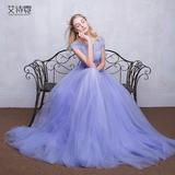 艾诗霓春夏季新款礼服 长款小礼服修身淡紫婚纱礼服 聚会礼服齐地