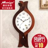枫叶客厅创意挂钟欧式实木钟表现代摇摆钟静音时钟个性挂表石英钟