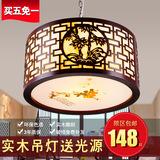 中式吊灯实木仿古餐厅茶楼酒店羊皮灯具古典客厅书房中国风灯饰