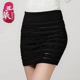 多琳纳2016春装新款大码半身裙蕾丝高腰短裙修身一步裙百搭包臀裙