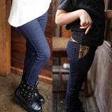 春秋新款女童打底裤加绒加厚儿童中大童弹力修身仿牛仔小脚长裤子