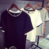包邮夏季韩版纯棉修身短袖T恤 日系假两件打底衫半袖 潮男纯色TEE