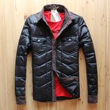 秋冬季韩版男士修身棉衣冬装衬衫翻领轻薄羽绒棉服青年保暖外套潮