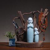 青瓷创意可爱小沙弥和尚陶瓷佛像家居装饰工艺品摆件生日礼物德化