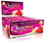 探索Quest 乳清蛋白棒 白巧克力覆盆子健身能量便携代餐 单支60g