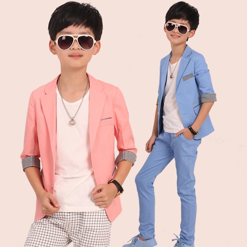 卡露比童装 夏季新品 男童小西装儿童七分袖西服大童外套韩版潮