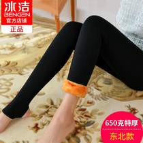 Ice Jie special thick panties female winter velvet thickened cotton pants high waist big code outside wear one foot heel warm pants