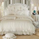 韩版公主纯棉婚庆床品韩式全棉四件套床单被套蕾丝床上用品包邮