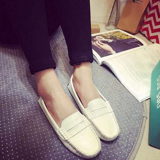 英伦浅口单鞋女平跟学生软底真皮护士休闲圆头白色豆豆鞋女夏平底
