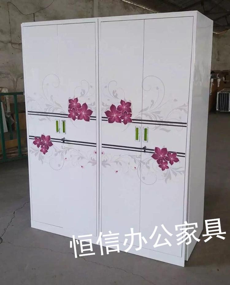 钢制铁皮印花衣柜家用拆装衣柜2门3门4门6门更衣柜鞋柜储物柜衣柜