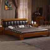 榆木床 全实木床双人床 榆木真皮床纯实木软靠背厚重床婚床1.8米