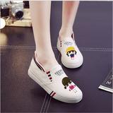 一脚蹬卡通涂鸦懒人鞋平底低帮帆布鞋女学生韩版舒适透气布鞋子