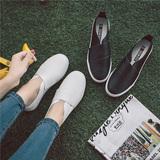 秋季皮面懒人鞋女学生平底鞋韩版黑色乐福鞋女士休闲鞋一脚蹬女鞋
