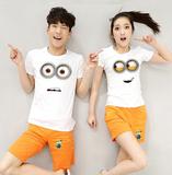 沙滩情侣装夏装2016韩版蜜月度假大码休闲运动套装两件套短袖t恤