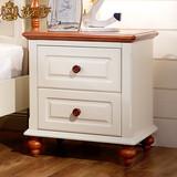 地中海床头柜美式乡村实木床边柜子小简约欧式储物柜仿古白色D201