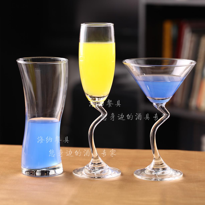 泰国海洋 创意异形玻璃高脚酒杯 鸡尾酒香槟果汁饮料杯 无气泡商品图片