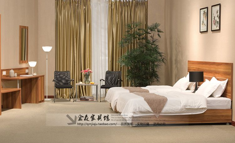 订制酒店宾馆家具 标间单人床全套家具写字桌电视柜图片