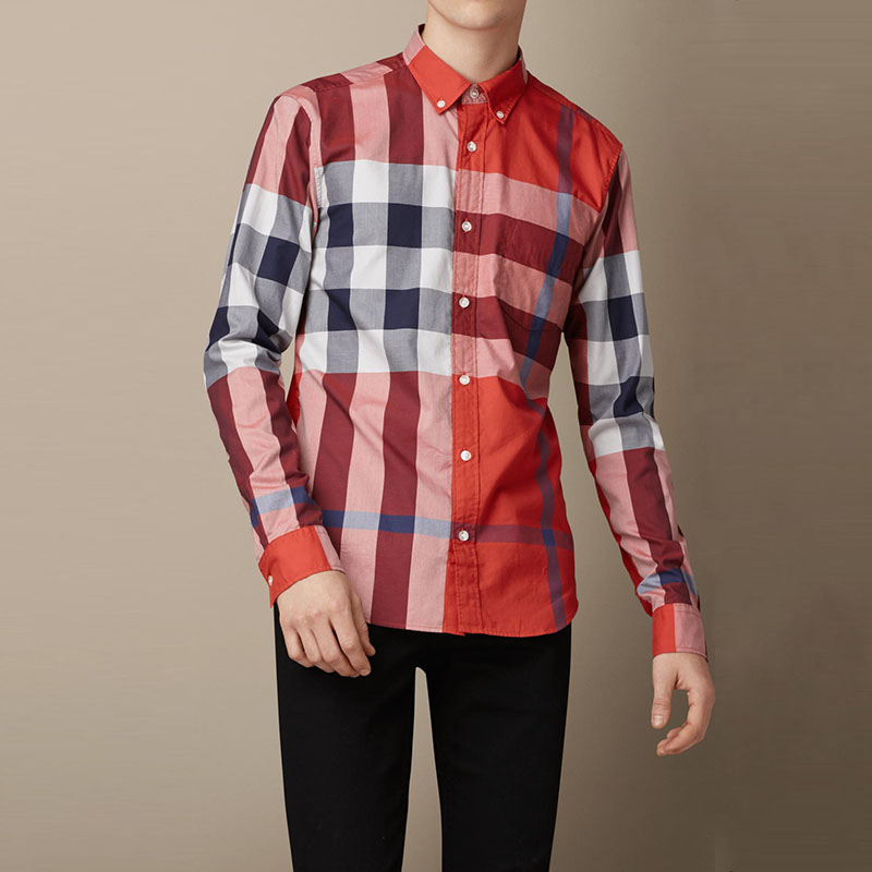 巴宝莉2014新款brit男装长袖衬