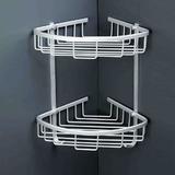 包邮 太空铝浴室置物架三角架实心铝板 双层转角架卫生间置物架