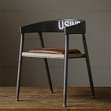 美式乡村做旧复古餐椅铁艺沙发椅子休闲咖啡店椅电脑椅会议办公椅