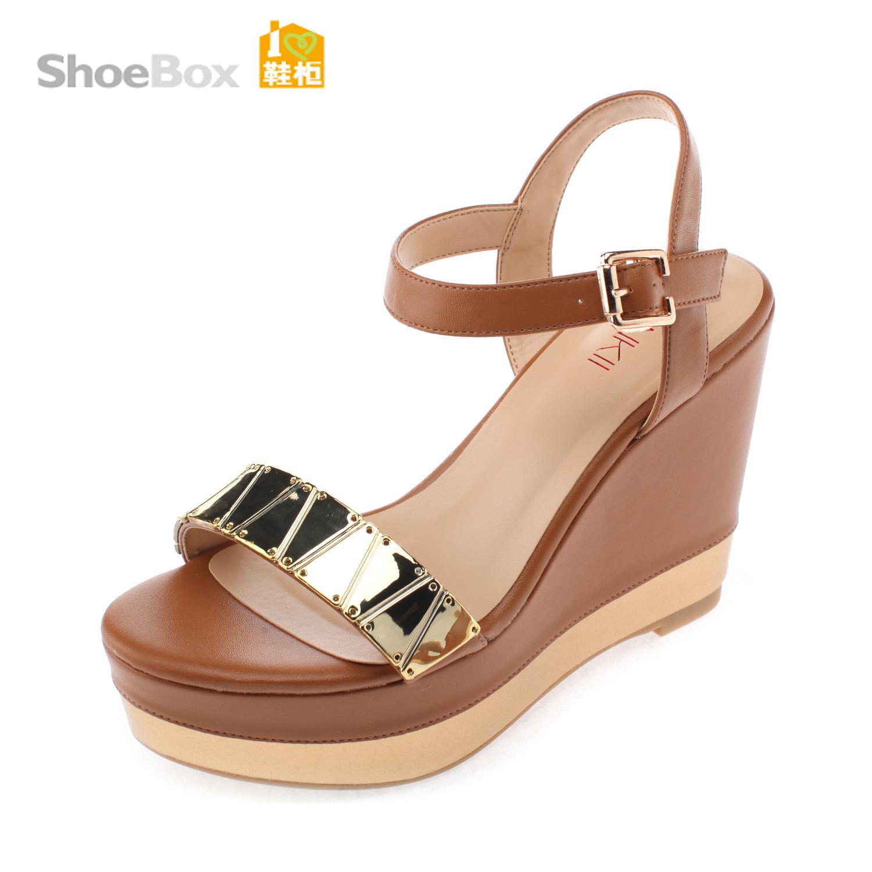 鞋柜13年夏新款女鞋1113303263 亮面金属拼接坡跟超高跟凉鞋商品图片