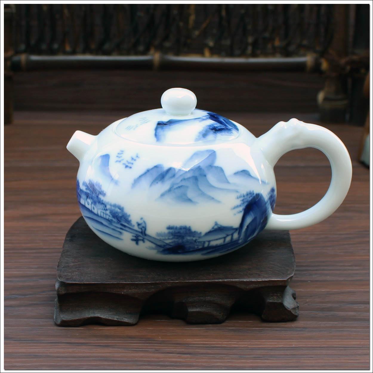 景德镇手绘青花瓷茶具 陶瓷茶壶单壶 功夫茶道 西施壶 山水 免邮商品