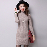 2016春季新款毛衣女宽松中长款纯色羊绒针织打底衫套头高领连衣裙