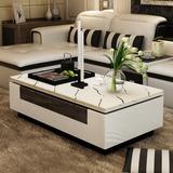 大理石茶几 白色客厅烤漆欧式茶几简约现代小户型电视柜组合套装
